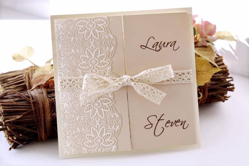 Csipkés és vintage esküvői meghívó 01