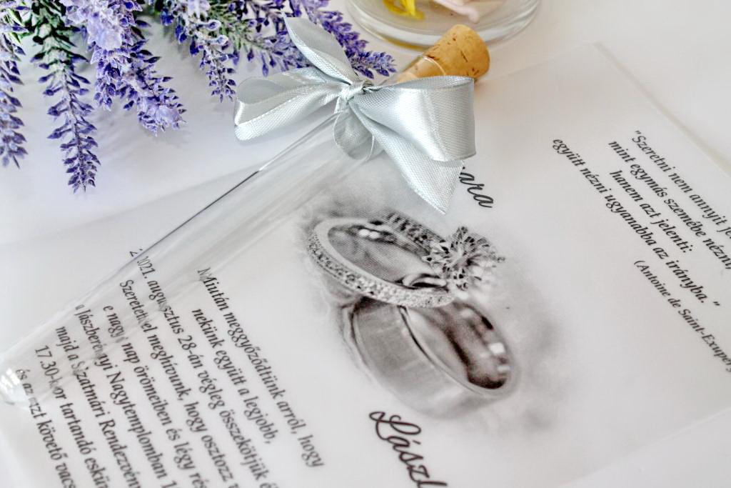 Kémcsöves esküvői meghívó 01