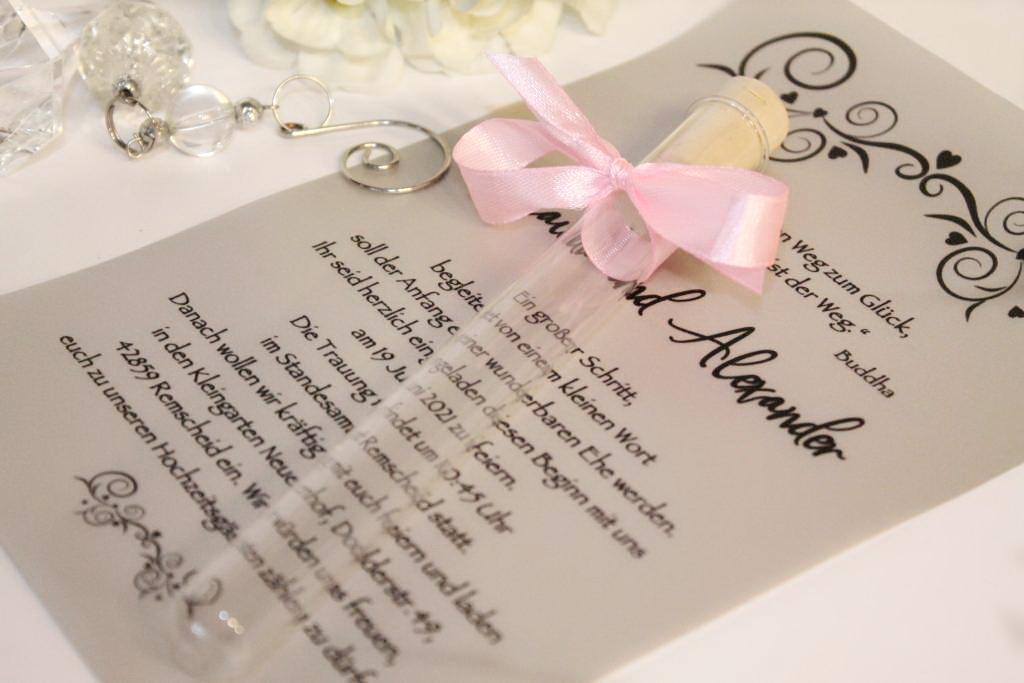 Kémcsöves esküvői meghívó 04