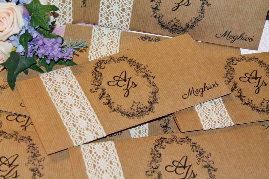 Csipkés és vintage esküvői meghívó 06